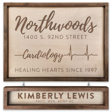 """Custom Cardiology Wooden Sign - 18"""" x 24"""" - With Name Board"""