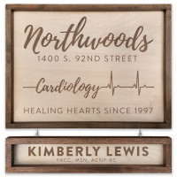 "Custom Cardiology Wooden Sign - 18"" x 24"" - With Name Board"