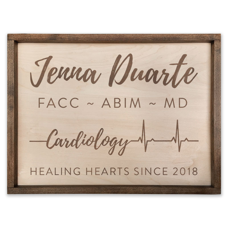 Personalized Pacific Crest Wooden Cardiology Script Sign with Custom  Engraving