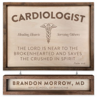 "Custom Cardiologist Wooden Sign - 18"" x 24"" - With Name Board"