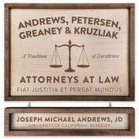 "Custom Attorney Wooden Sign - 18"" x 24"" - With Name Board"
