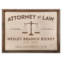 "Custom Attorney Wooden Sign - 18"" x 24"""