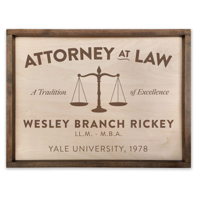 Custom Attorney Wooden Sign