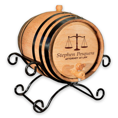 Oak Aging Barrel - Personalized Lawyer Gift - Wrought Iron Stand