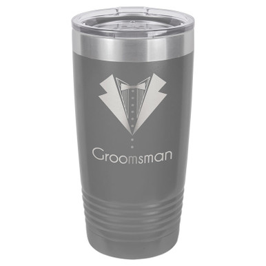 Personalized Tumblers - 20oz Gray Custom Engraved Tumbler Mug