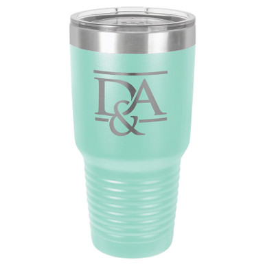 Personalized Tumblers - Large 30oz Teal Laser Engraved Tumbler Mug
