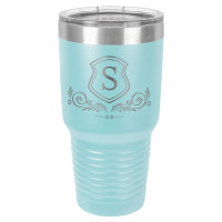 Personalized Tumblers - Large 30oz Light Blue Laser Engraved Tumbler Mug