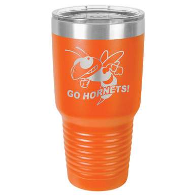 Personalized Tumblers - Large 30oz Orange Laser Engraved Tumbler Mug