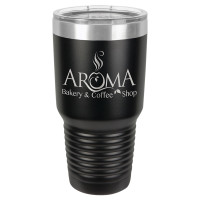 Personalized Tumblers - Large 30oz Black Laser Engraved Tumbler Mug