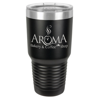 Personalized Tumblers - Large 30oz Black Laser Engraved Tumbler Mug