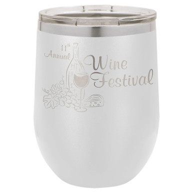 Personalized Tumblers - 12oz White Laser Engraved Stemless Wine Glass Tumbler
