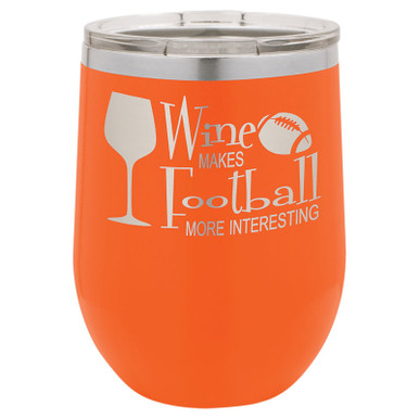 Personalized Tumblers - 12oz Orange Laser Engraved Stemless Wine Glass Tumbler
