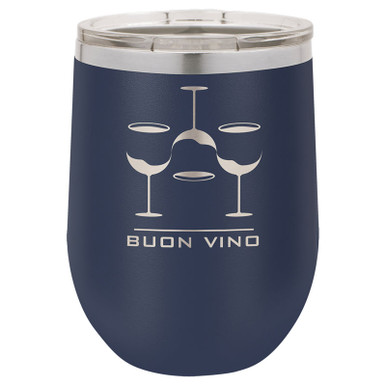 Personalized Tumblers - 12oz Navy Blue Laser Engraved Stemless Wine Glass Tumbler
