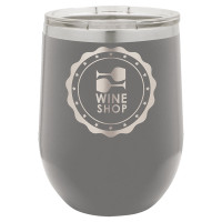 Personalized Tumblers - 12oz Gray Laser Engraved Stemless Wine Glass Tumbler