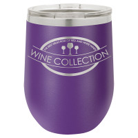 Personalized Tumblers - 12oz Purple Laser Engraved Stemless Wine Glass Tumbler