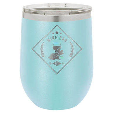 Personalized Tumblers - 12oz Light Blue Laser Engraved Stemless Wine Glass Tumbler