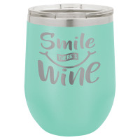 Personalized Tumblers - 12oz Teal Laser Engraved Stemless Wine Glass Tumbler