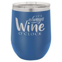 Personalized Tumblers - 12oz Royal Blue Laser Engraved Stemless Wine Glass Tumbler