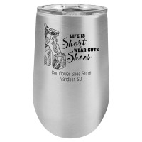 Personalized Tumblers - 16oz Stainless Steel Stemless Wine Glass Tumbler