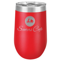 Personalized Red Tumbler - 16oz Stemless Wine Glass Tumblers
