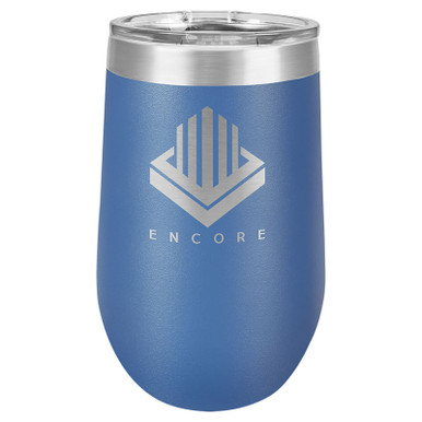 Personalized Royal Blue Tumbler - 16oz Stemless Wine Glass Tumblers
