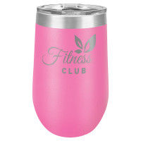 Personalized Pink Tumbler - 16oz Stemless Wine Glass Tumblers