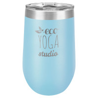 Personalized Light Blue Tumbler - 16oz Stemless Wine Glass Tumblers