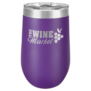 Personalized Purple Tumbler - 16oz Stemless Wine Glass Tumblers