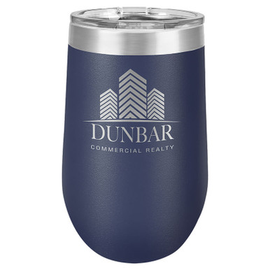 Personalized Navy Blue Tumbler - 16oz Stemless Wine Glass Tumblers