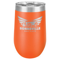 Personalized Orange Tumbler - 16oz Stemless Wine Glass Tumblers