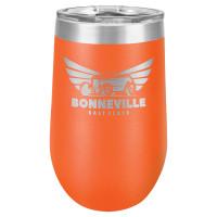 Personalized Orange Tumbler - 16oz Stemless Wine Glass Tumblers
