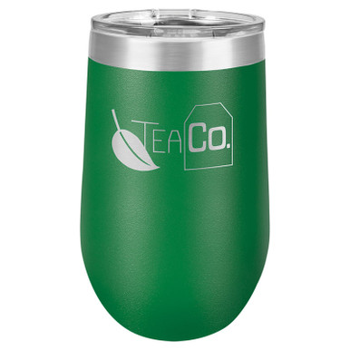 Personalized Green Tumbler - 16oz Stemless Wine Glass Tumblers