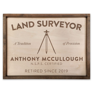 "Custom Land Surveyor Wooden Sign - 18"" x 24"""