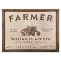 "Custom Farmer Wooden Sign - 18"" x 24"""