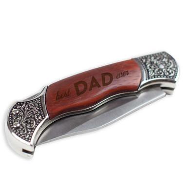 BEST DAD EVER Rosewood Handle Pocket Knife
