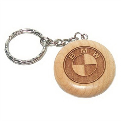 Custom Wood Key Chain - Circle