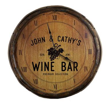Wine Bar with Grapes Truss Quarter Barrel Clock