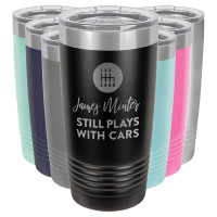 "Gear Shift ""Still Plays with Cars"" Personalized Tumbler"