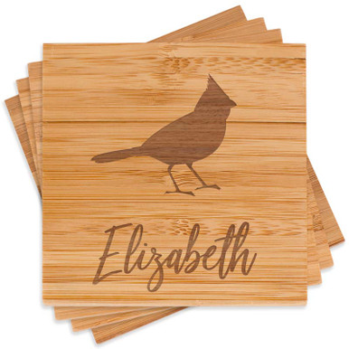 Engraved Cardinal Coaster Set