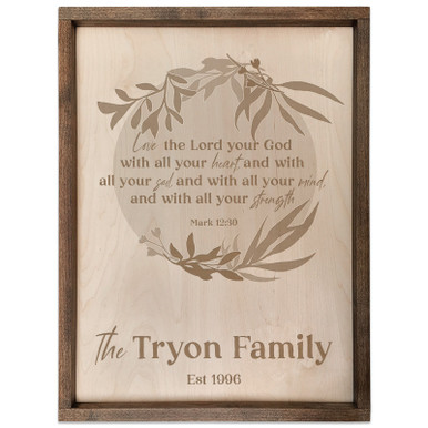 Personalized Scripture Plaque - Mark 12:30 (Circle)