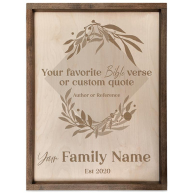 Personalized Family Name Sign with Custom Quote (Square)