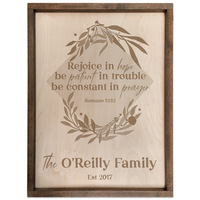 Personalized Scripture Plaque - Romans 12:12 - Rejoice in Hope (Square)
