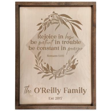 Personalized Scripture Plaque - Romans 12:12 - Rejoice in Hope (Square)