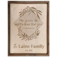 Personalized Scripture Plaque - My Grace is Sufficient - II Corinthians 12:9 (Square)