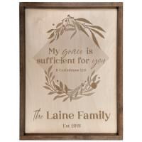 Personalized Scripture Plaque - My Grace is Sufficient - II Corinthians 12:9 (Square)