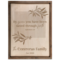 Personalized Scripture Plaque - By Grace - Ephesians 2:8 (Rectangle)