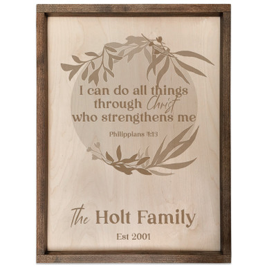 Personalized Scripture Verse Family Name Sign (Circle) Philippians 4:13