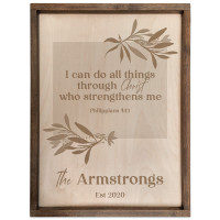 Personalized Scripture Verse Family Name Sign (Rectangle) Philippians 4:13