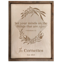 Personalized Bible Verse Wood Plaque (Square) Colossians 3:2