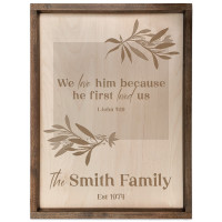 Personalized Scripture Verse Plaque - Rectangle (I John 4:19)